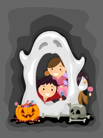 Illustration of Kids Manning a Ghost Booth illustration