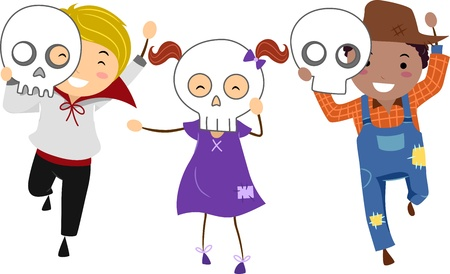 Illustration of Kids Wearing Halloween Masks illustration