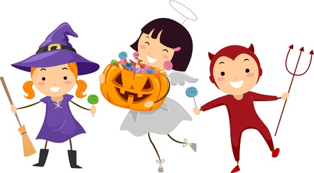 Illustration of Kids Trick or Treating