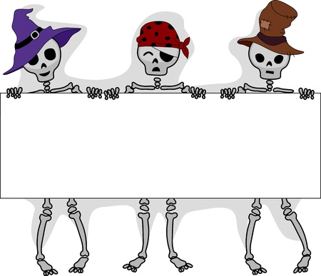3d witch: Illustration of Skeletons Holding a Long Board Stock Photo