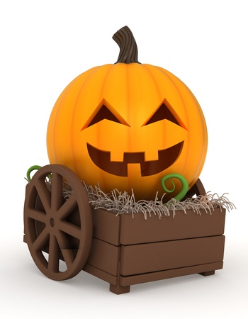 3d halloween: 3D Illustration of a Jack-o-Lantern on a Cart