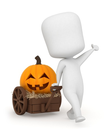 special occasion: 3D Illustration of a Kid Pulling a Pumpkin in a Cart Stock Photo