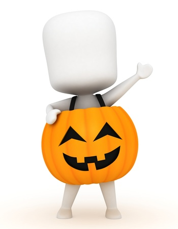 3d halloween: 3D Illustration of a Kid Wearing a Pumpkin Costume
