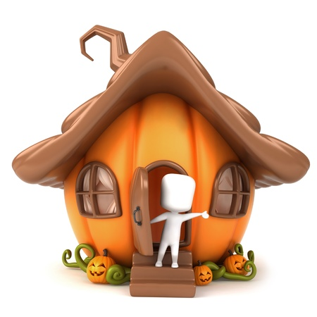 welcome home: 3D Illustration of a Man Waving from a Pumpkin House