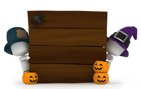 3d halloween: 3D Illustration of Kids Hiding Behind Halloween-Themed Boards Stock Photo