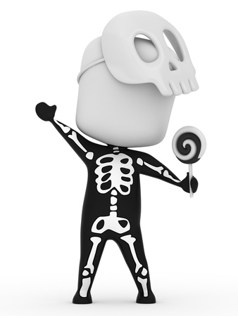 cosplay: 3D Illustration of a Kid Dressed as a Skeleton