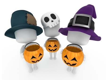3d halloween: 3D Illustration of Kids Trick or Treating Stock Photo