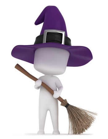 3d halloween: 3D Illustration of a Kid Holding a Broomstick