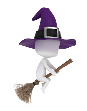 3d halloween: 3D Illustration of a Young Witch Riding a Broomstick