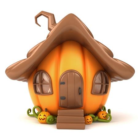 calabaza caricatura: Ilustración 3D de una casa con forma de calabaza