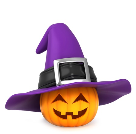 3d halloween: 3D Illustration of a Pumpkin Wearing a Witch Hat Stock Photo