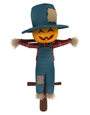 3D Illustration of a Scarecrow illustration