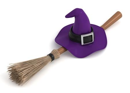 retama: Ilustración 3D de un sombrero de bruja y un palo de escoba