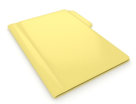 dossier: 3D Illustration of a Yellow Folder Stock Photo