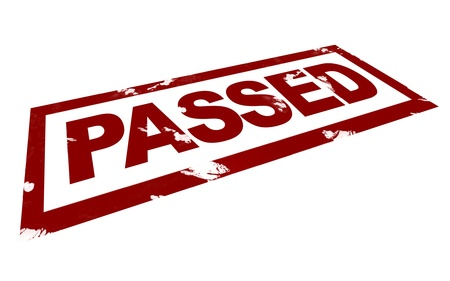 passed: 3D Illustration of a Passed Mark