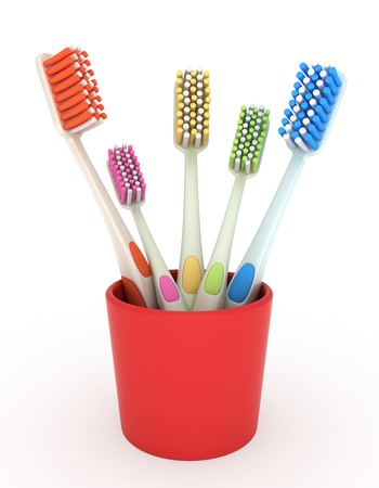 oral hygiene: 3D Illustration of a Toothbrush Holder Full of Brushes Stock Photo