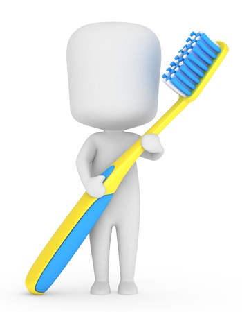 oral hygiene: 3D Illustration of a Kid Holding a Toothbrush Stock Photo