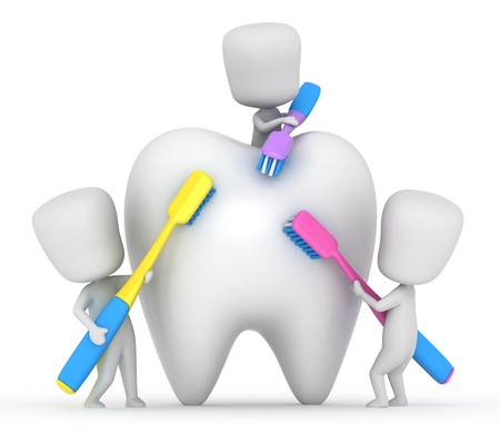 3D Illustration of Kids Brushing a Tooth illustration