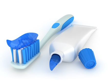 oral hygiene: 3D Illustration of a Toothbrush and Paste