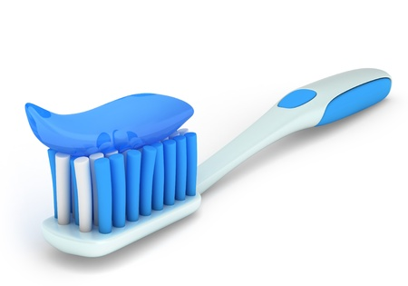 oral hygiene: 3D Illustration of a Toothbrush with Paste Stock Photo