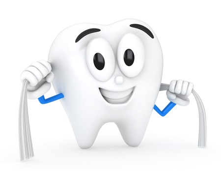 Ilustración 3D de una limpieza con hilo dental los dientes Foto de archivo