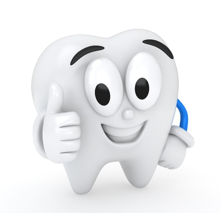 3D Illustration of a Tooth Giving a Thumbs Up illustration
