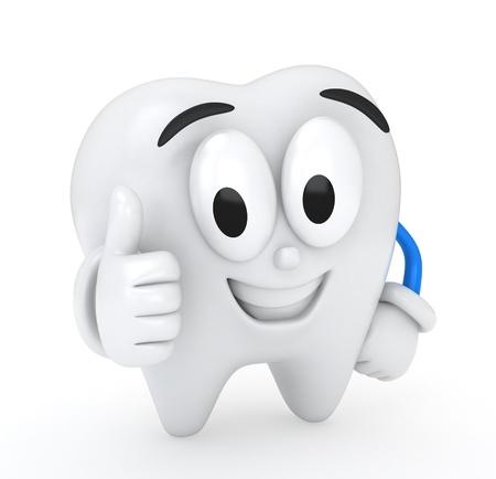 diente caricatura: Ilustraci�n 3D de un diente dando un pulgar hacia arriba