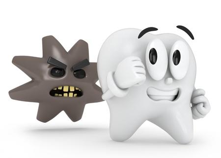 dientes caricatura: Ilustraci�n 3D de un diente de huir de la cavidad Foto de archivo