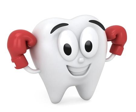 dientes caricatura: Ilustraci�n 3D de un diente que muestra su fuerza