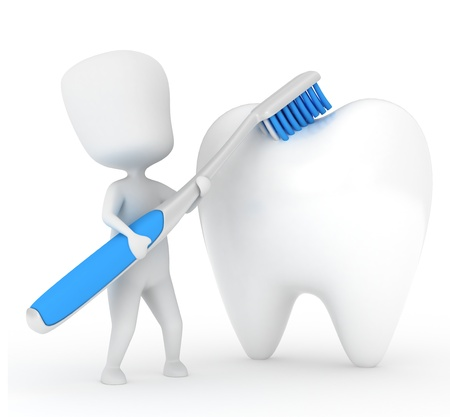 cleaning teeth: 3D Illustration of a Man Brushing a Tooth