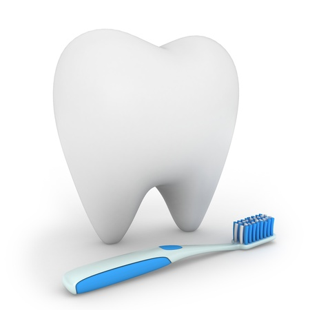 cleaning teeth: 3D Illustration of a Toothbrush and a Tooth