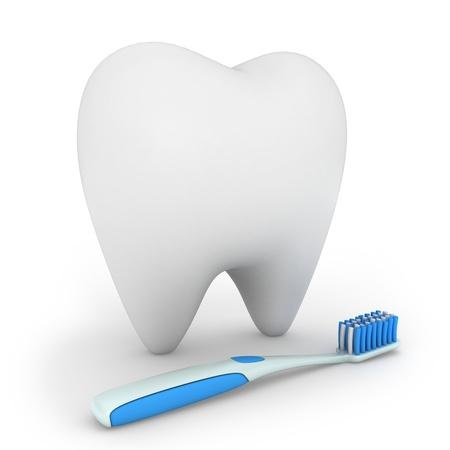 muela: Ilustraci�n 3D de un cepillo de dientes y un diente