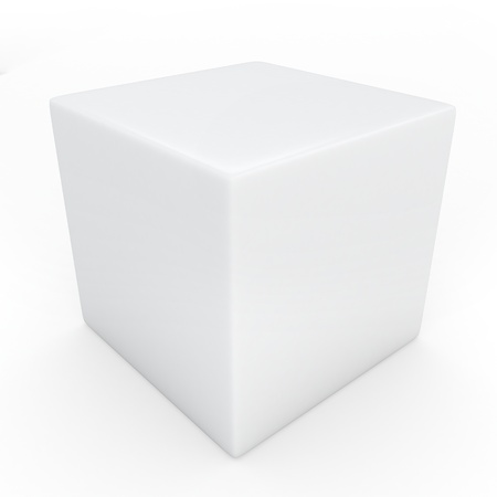 white cube: 3D Illustration of a Cube Stock Photo
