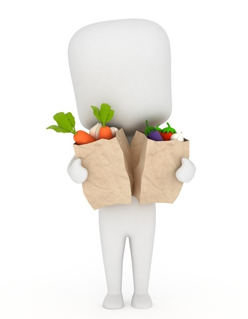 3D Illustration of a Man Carrying Bags of Vegetable illustration