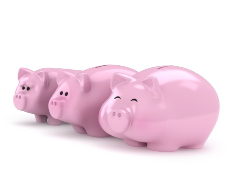 3D Illustration of Thin, Normal and Full Piggy Banks illustration
