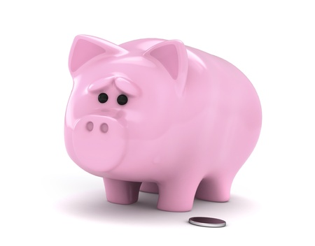 insufficient: 3D Illustration of a Worried Piggy Bank