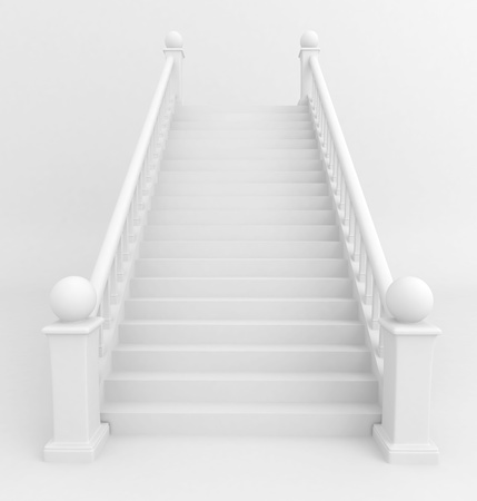 going up: 3D Illustration of a Staircase