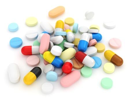 droga: Illustrazione 3D dei medicinali assortiti