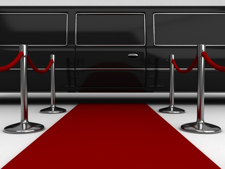 red carpet event: 3D Illustration of a Red Carpet Extending to a Parked Limousine