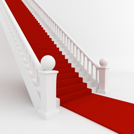 3D Illustration of Stairs Covered with Red Carpet illustration