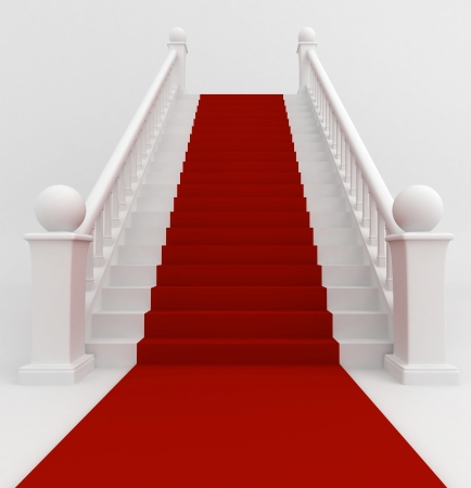 red carpet event: 3D Illustration of a Staircase Covered with Red Carpet Stock Photo