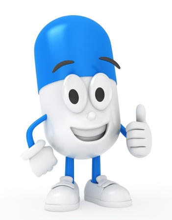 recommendation: 3D Illustration of a Capsule Giving the Thumbs Up Stock Photo