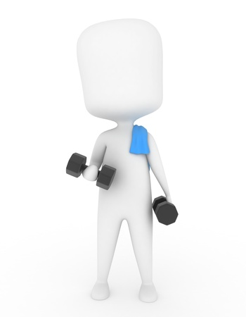 man working out: 3D Illustration of a Man Working Out