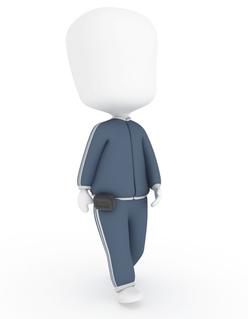3D Illustration of a Walking Man Wearing a Pedometer illustration