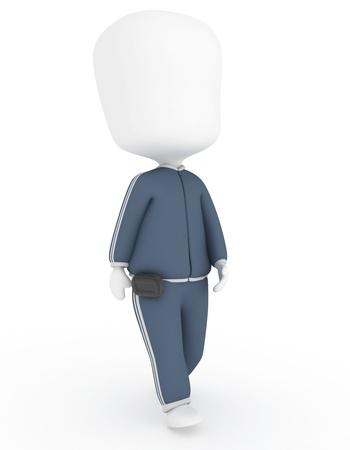 Ilustraci�n 3D de un hombre caminando uso de un pod�metro Foto de archivo - 11328450