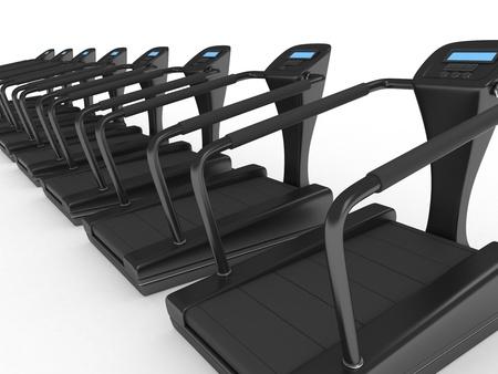 3D Illustration of Empty Treadmills illustration
