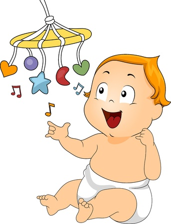 Illustration of a Baby Playing with a Musical Toy