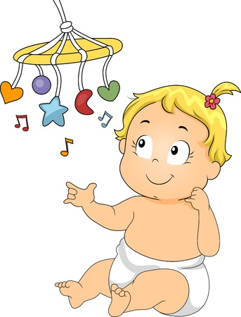 Illustration of a Baby Playing with a Musical Toy illustration
