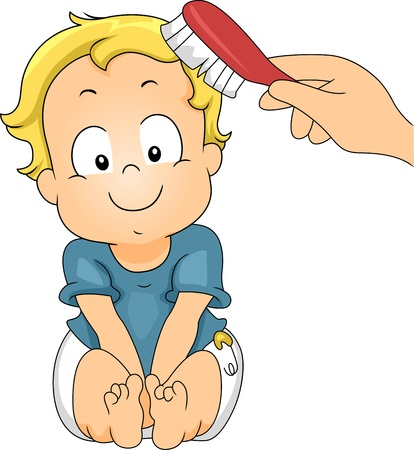 grooming: Illustration of a Baby Getting His Hair Brushed