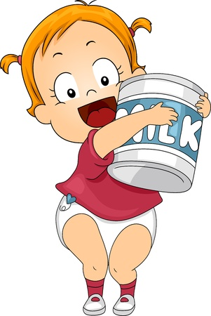 milk cans: Illustration of a Baby Holding a Large Can of Milk